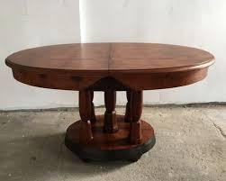 art deco round french burl walnut mahogany dining table