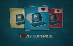 Wallpaper photoshop, keyboard, monitor ...