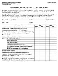 Staff Orientation Checklist Staff Orientation Checklist Group Child Care Centers Fill Online