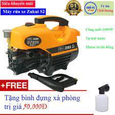 Máy xịt rửa mini - máy rửa xe Zukui S2 - 2000W - motor từ- tự hút nước - có  video