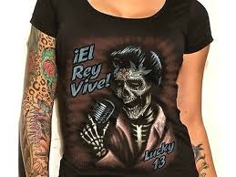 Womens Lucky 13 El Rey Vive Scoop Neck Punk Tattoo Goth Shirt S M L Xl Xxl
