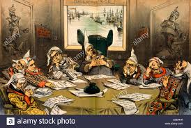 king chester arthur s knightcaps of the round table political cartoon showing chester arthur and cabinet members wearing nightcaps sleeping around table