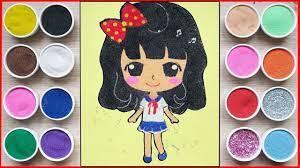 TÔ MÀU TRANH CÁT BÚP BÊ CHIBI CÔNG CHÚA - Colored sand painting princess  toys (Chim Xinh) - YouTube
