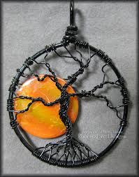 full moon tree of life pendant y tree wire wrapped jewelry black wire orange harvest moon necklace gothic phoenixfire designs