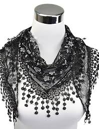 Women's Work Lace Rectangle Scarf - Floral Cut Out / <b>Tassel</b> ...