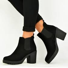 Martens chelsea boots for women. Women S Black Chelsea Boots Suede Round Toe Chunky Heels Ankle Boots For Work School Date Anniversary Going Out Fsj