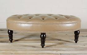 furniture brown birch leather oval ottoman with tufted decor