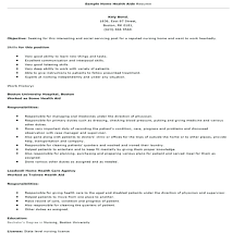 Home Health Care Resume Sample Resume Home Health Care Aide For Nurse With Breathtaking