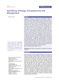 Pdf Nail Biting Etiology Consequences And Management