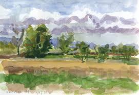 watercolor landscape enaar rd sauvie island