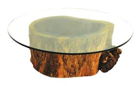 tree trunk coffee table for natural stump and side uk oak glass