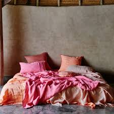 kip co neon hot pink rv neon peach linen duvet cover