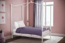 Details about Girls Twin Size Metal Canopy Bed Frame White Finish Headboard Footboard Bedroom