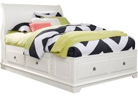 Oberon White 3 Pc Full Sleigh Bed with 6 Drawer Storage - Full Beds ...