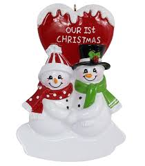 Maxora Our First Christmas Couple Snowman Resin Hanging Ornaments ...