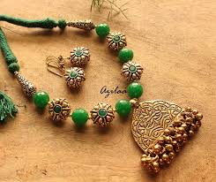green gemstone jewellery set antique gold necklace set