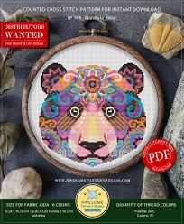 Canevas Moderne Design Mandala Bear P166 Embroidery Cross Stitch Pattern Download