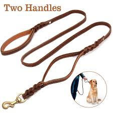 focuspet leather dog leash with double handle 6ft braided leather dog leash with traffic handle heavy duty lead for large medium dogs greater control