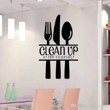 clean up after yourself wall quote kitchen wall decal sticker fork knife spoon wall art mural  on wall art decals quotes for kitchen with clean up after yourself wall quote kitchen wall decal sticker fork