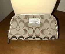 coach signature cosmetic pouch makeup bag khaki gold peyton cc 100 auth nice