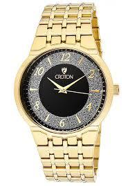 croton watches men s starglitz black diamond dust dial gold tone croton watches men s starglitz black diamond dust dial gold tone brass cn307325ylbk