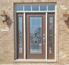 provia legacy steel entry door tudor brown exterior with emerald glass in naperville