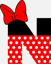 Red ribbon, Minnie Mouse Mickey Mouse Alphabet Pluto, minnie mouse, text,  cartoon png