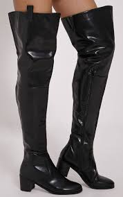 cally black faux leather thigh high over knee boots image 1