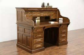 raised panel 1900 antique quarter sawn oak s roll top desk signed roll top desk