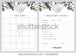 Wishes For Baby Template Baby Shower Bingo Game Template Predictions Stock Vector Royalty
