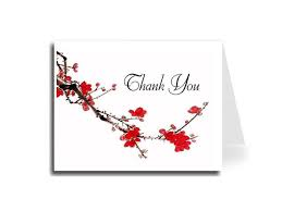 Thank You Cursive Font Artisan Decor Watercolor Plum Blossom Thank You Card Set Of 5 Florentine Cursive Font