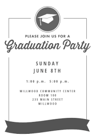 Online Graduation Party Invitations Ribbon Graduation Printable Invitation Template Customize Add Text