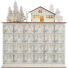 32cm pre lit wooden house scene advent calendar decoration white
