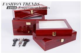 6 slots grid pu red wooden watch boxes casket display box jewelry storage organizer case locked watch with glass top winder large watch case watch cases for