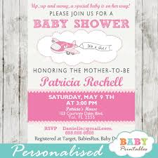 Pink Airplane Baby Shower Invitation Girls D166 Baby Printables