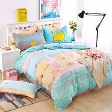 blue owl girls boys bedding set bright color fish horse car bed linen kids duvet cover sets twin full queen king size jpg