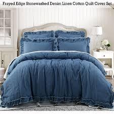 frayed edge stonewashed denim linen cotton quilt doona duvet cover set queen king