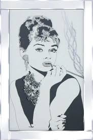 audrey hepburn picture frame liquid glass wall art picture with mirror frame unique arts