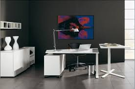 view in gallery black and white office
