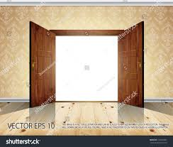 open double doors. Open Massive Wooden Big Double Door; Wallpaper With Decorative White Moldings - Vector Background Doors T