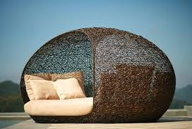 Bedroom Round Patio Chair With Canopy Resin Wicker Daybed Outdoor ...