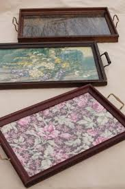 collection of wood frame trays, antique vintage glass topped serving tray  lot