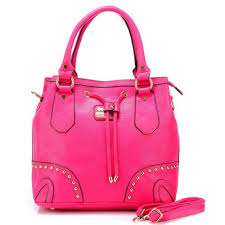 Coach Drawstring In Stud Medium Pink Satchels BDN