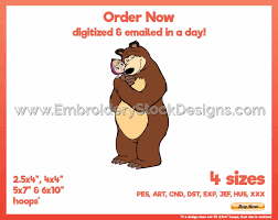 Masha Designs Masha And The Bear 7 Pop Culture Cartoon Embroidery Design