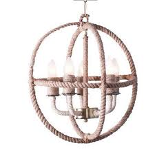 rattan rope ring 5 light chandelier