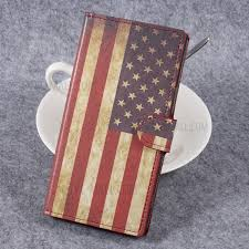 for sony xperia xz premium patterned leather wallet stand mobile phone shell retro american flag