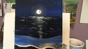how to paint a night beach with acrylic paint step by step lesson 5 for the beginner