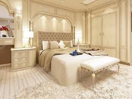 Luxury Bed In A Large Neoclassical Bedroom With Decorative Niche U2014 Stock  Photo