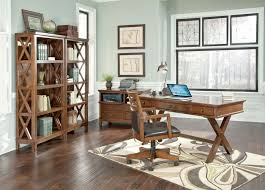 side view office set. Home Office Set. Burkesville - Medium Brown-\\u201cx Collection Set Side View