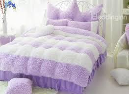 le purple and white color block 4 piece velvet duvet cover set on